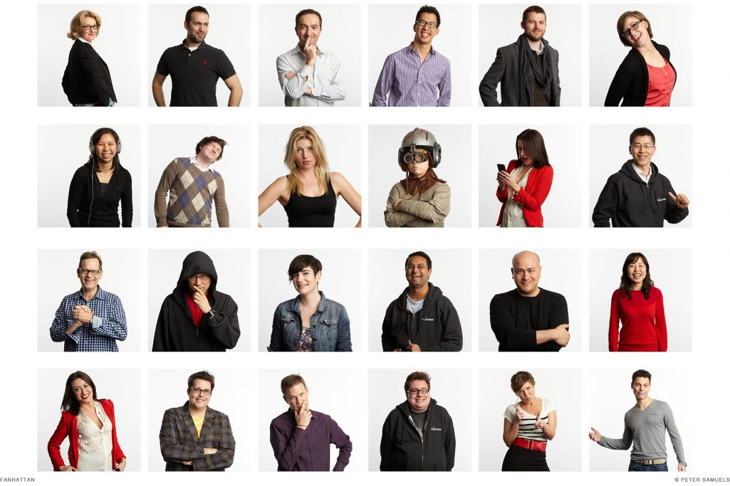 Tech industry team portraits for entertainment start up Fan.TV
