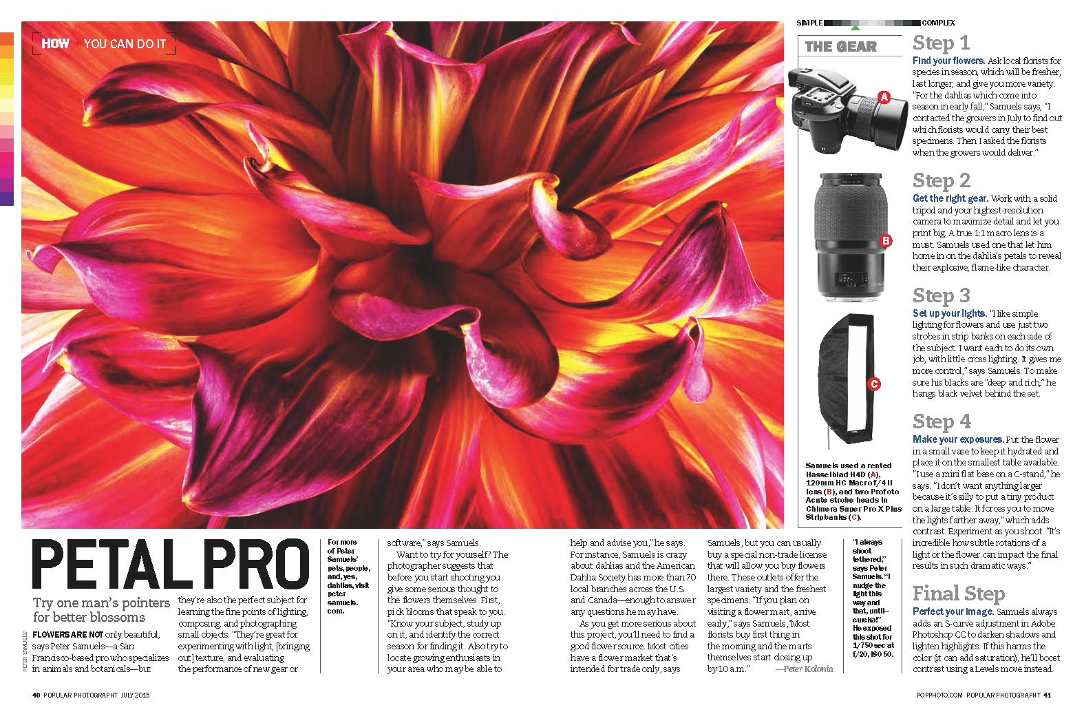 Write-up on my flower / dahlia work in Popular Photography magazine.