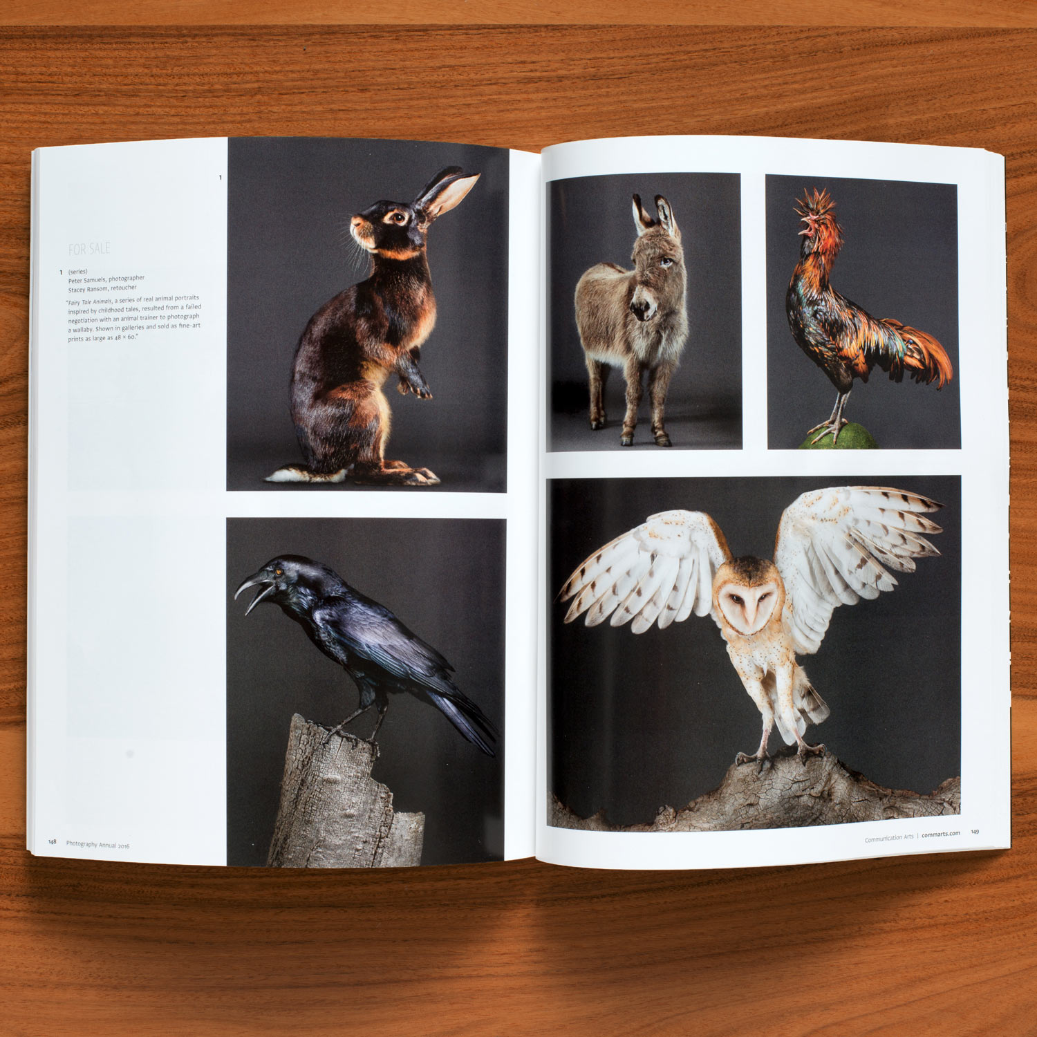 Communication arts photography annual accepts my fine art photography fairy tale animal series including the donkey, barn owl, raven and rooster.